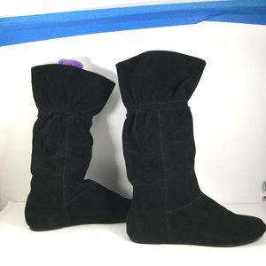 Nine West Patrick Leather Slouch Boots Black Sz 10